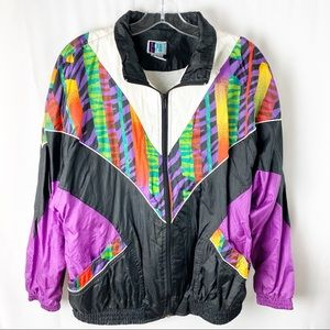 Vintage 90's multi colored print windbreaker L